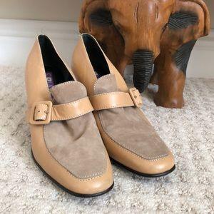 Sz8.5SusanBennis  block heel leather penny loafer